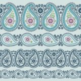 Paisley fabric seamless border.Oriental motif Stock Images