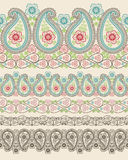 Paisley fabric seamless border.Oriental motif Stock Image