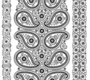 Paisley fabric seamless border set Stock Photo