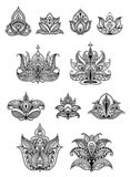 Paisley floral design elements set Stock Photos