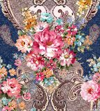 Paisley floral pattern in russian style. Medallion with red poppy and light blue flowers. Winter design. Tablecloth, shawl, carpet, cushion, wrapping design stock illustration