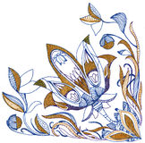 Paisley flower hand drawing illustration Royalty Free Stock Image