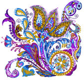 Paisley flower hand drawing illustration Stock Photography