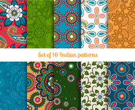 Paisley and flower indian seamless patterns Stock Photos