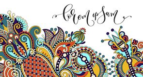 Paisley flower pattern in ethnic style, indian decorative floral stock illustration