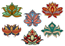 Paisley flowers with indian ethnic ornaments Stock Images
