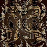 Paisley flowers with meander greek key tapestry ornaments. Stock Photos