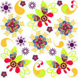 Paisley and flowers and seamless pattern in swatch menu,  Royalty Free Stock Photos