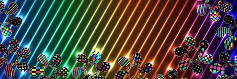 Paisley form roterar enkelt banret RGB stock illustrationer