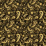 Traditional paisley seamless pattern. Paisley gold and black seamless pattern. Hand drawn golden traditional asian ethnic oriental arabic indian floral paisley Stock Photos