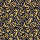 Traditional paisley seamless pattern. Paisley gold and deep blue seamless pattern. Hand drawn golden traditional asian ethnic oriental arabic indian floral Royalty Free Stock Image