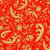 Traditional paisley seamless pattern. Paisley gold red seamless pattern. Hand drawn golden traditional asian ethnic oriental arabic indian floral paisley batik Stock Photography