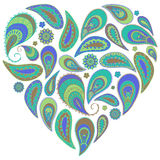Paisley heart in turquoise and aqua colors. This design element good for any card, t-shirts etc Royalty Free Stock Photography