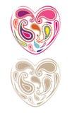 Paisley hearts Stock Image