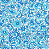 Swirly Henna Paisley Floral Seamless Pattern Vecto royalty free illustration