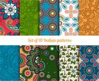Paisley i kwiatów indyjscy bezszwowi wzory royalty ilustracja