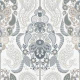 Paisley kwiecisty bezszwowy wzór indyjski ornament Wektorowi dekoracyjni kwiaty i Paisley Etniczny styl Projekt dla ilustracja wektor