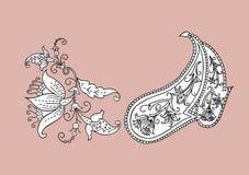 Paisley Kwiecisty projekt royalty ilustracja