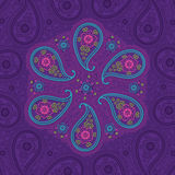Paisley lice round ornamental  in Oriental backgro Stock Photography