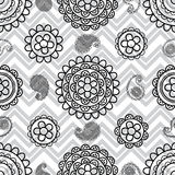 Paisley line black white seamless pattern Royalty Free Stock Images
