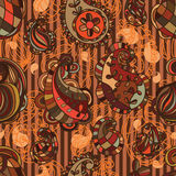Paisley line brown seamless pattern. This illustration is drawing Paisley line with brown colors in seamless pattern with stripes background Royalty Free Stock Image