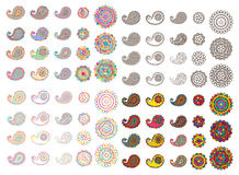 Paisley line color set. This illustration is design colorful paisley and flower outline and isolated set in white color background stock illustration
