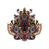 Paisley lotus background. Luxurious paisley composition. Stylized  image of lotus flower. Traditional motive of Russia, India, Persia isolated on white Stock Images