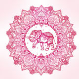 Paisley mandala with elephant inside. Stock Image