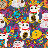 Paisley maneki neko chevron seamless pattern Royalty Free Stock Photos