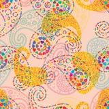 Paisley miłości gwiazdy stylu złocistej błyskotliwości bezszwowy wzór royalty ilustracja