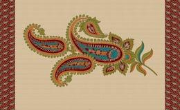 Paisley motif with paisley border vector illustration