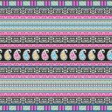 Paisley-nahtlose Blumenfarbdesign-Mustergrenze Stockbild