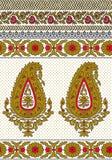 Paisley-nahtlose Blumenfarbdesign-Mustergrenze Stockfotos