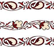 Paisley-nahtlose Blumenfarbdesign-Mustergrenze Stockfoto