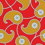 Paisley-nahtlose Blumenfarbdesign-Mustergrenze Lizenzfreie Stockfotos
