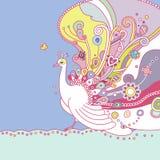 Paisley påfågel med utsmyckade fjädrar Royaltyfria Bilder