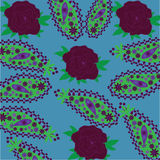 Paisley pattern with cherry roses Royalty Free Stock Photography