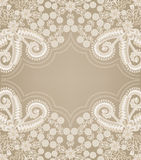 Paisley pattern with figured gray frame. In the center on a beige background Stock Photo
