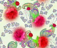 Paisley pattern with roses and decorative leaves in vintage styl Royalty Free Stock Image