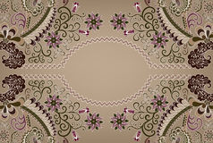 Paisley pattern with wavy oval frame Stock Photography