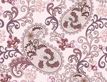 Paisley in purple tones with large flowers Stock Images