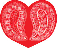 Paisley on red heart Royalty Free Stock Image