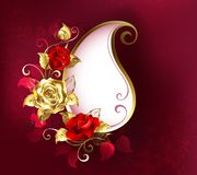 Paisley with red roses on pink background Vector Illustration