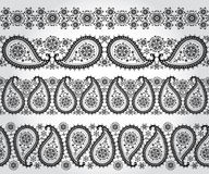 Paisley seamless border set.Winter silhouette lace Stock Photos