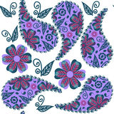 Paisley seamless colorful pattern in lilac and green colors and Stock Image