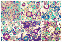 Paisley seamless colorful patterns. Royalty Free Stock Image