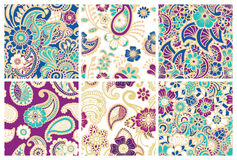 Paisley seamless colorful patterns. Stock Photography