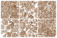 Paisley seamless colorful patterns. Stock Photos