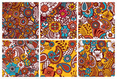 Paisley seamless colorful patterns. Royalty Free Stock Photos