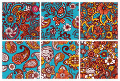 Paisley seamless colorful patterns. Royalty Free Stock Images